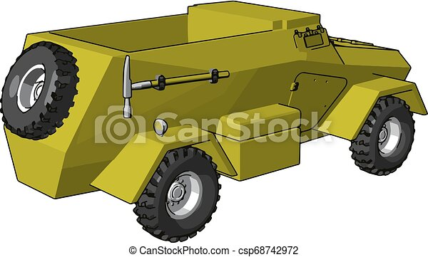 3D vector illustration on white background of an yellow armoured military vehicle - csp68742972