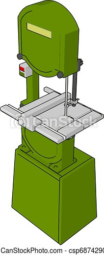 3D vector illustration on white background of a green metal cutting saw - csp68742902