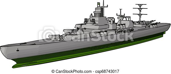 3D vector illustration side view of a military war ship on a white background - csp68743017