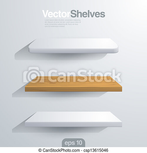 3D Vector shelves. Rectangle and rounded corner shape. - csp13615046