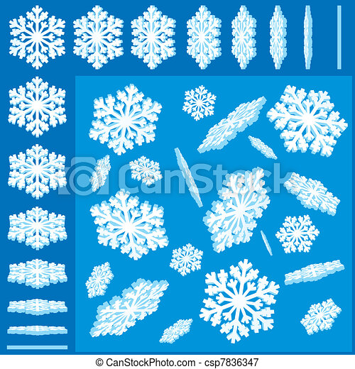 3D Vector Snowflakes Set - csp7836347