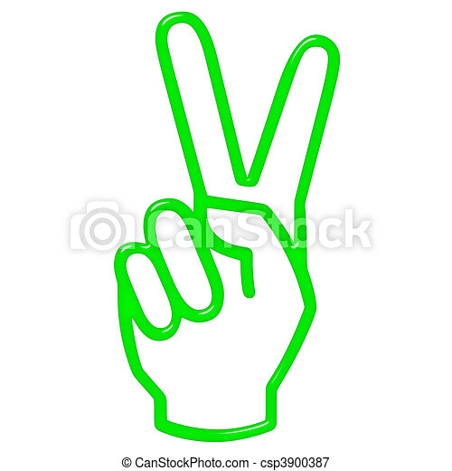 3D Victory Hand Sign - csp3900387