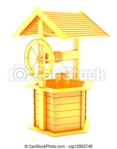 3d Vintage golden fountain - csp12952748