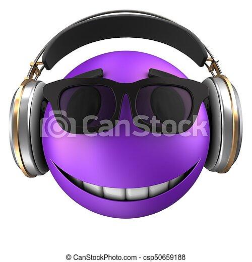 3d violet emoticon smile - csp50659188