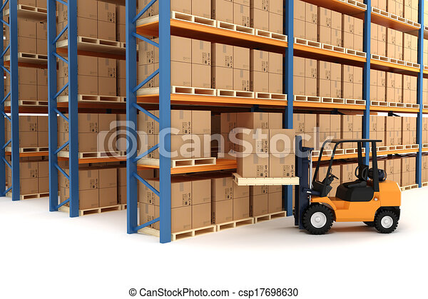 3d warehouse and forklift - csp17698630
