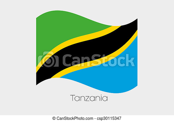 3D Waving Flag Illustration of the country of Tanzania - csp30115347