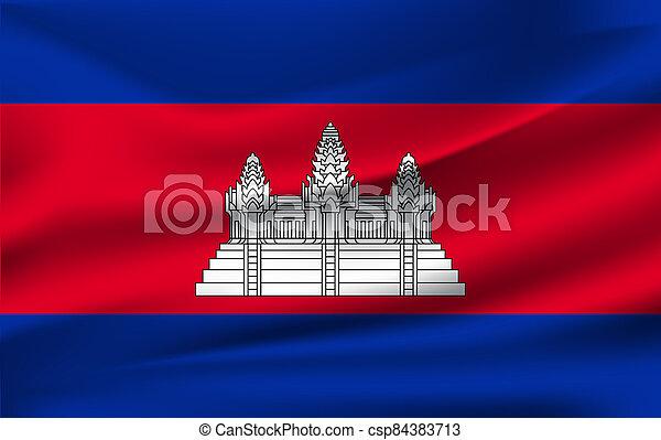 3D Waving Flag of Cambodia. Vector illustration - csp84383713