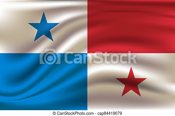 3D Waving Flag of Panama. - csp84419079