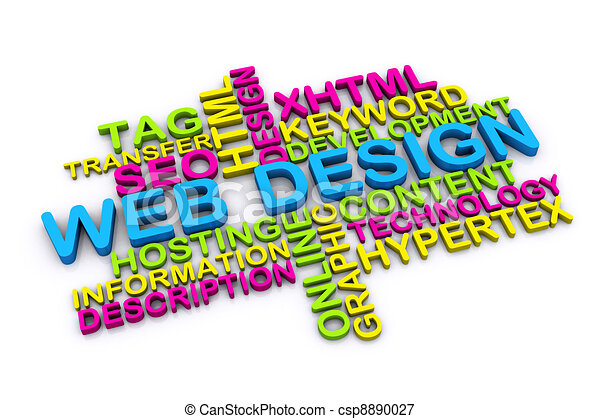 3d web design concept and other related words isolated on white