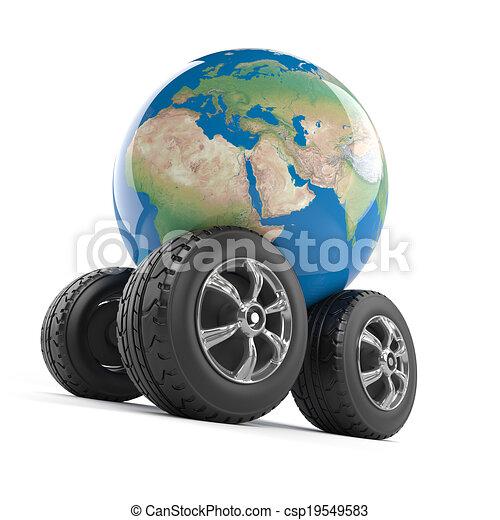 3d Wheeled globe - csp19549583