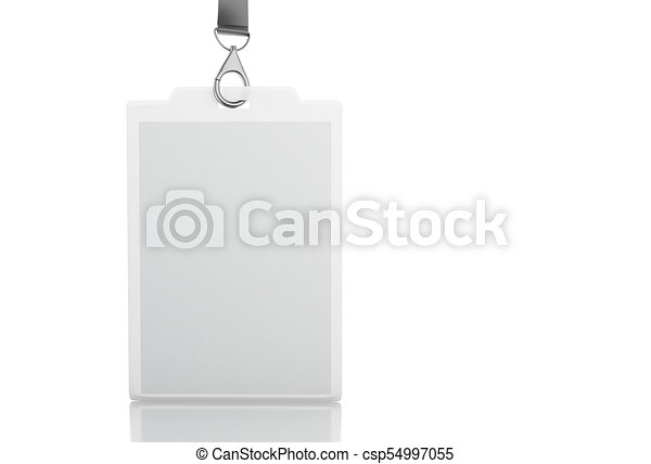 3d white blank plastic id badge with lanyard 3d illustration white