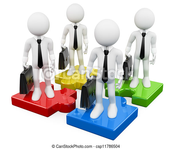 3D white business people. Business teamwork on puzzle pieces - csp11786504