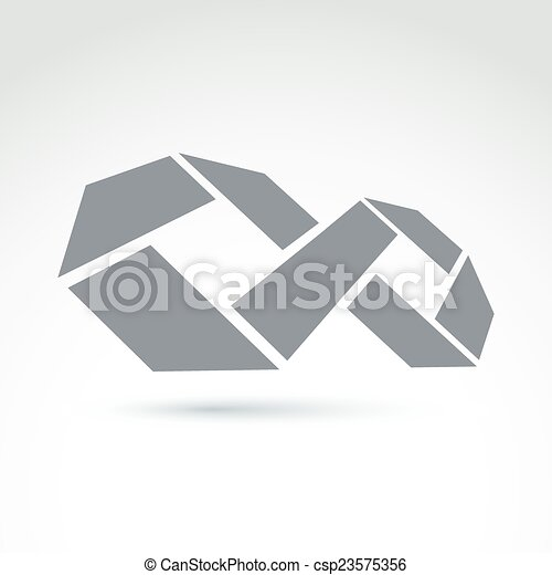 3d white infinity symbol with geometric parts illustration of an