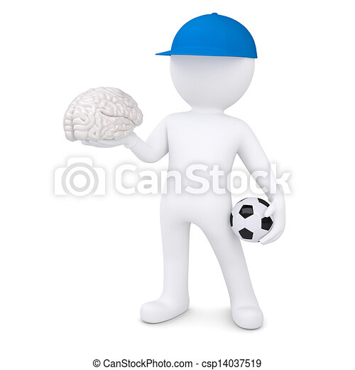 3d white man with soccer ball and the brain - csp14037519