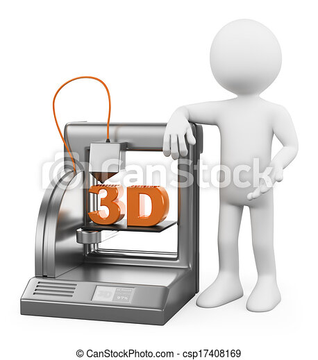 3D white people. 3D Printer fused deposition - csp17408169