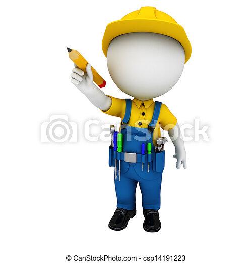 3d white people as plumber - csp14191223