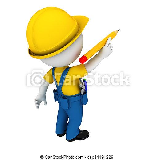 3d white people as plumber - csp14191229
