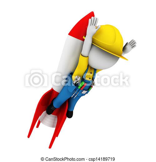3d white people as plumber - csp14189719