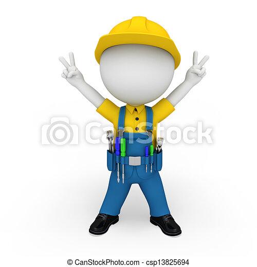 3d white people as plumber - csp13825694