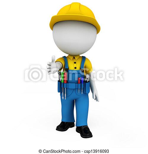 3d white people as plumber - csp13916093