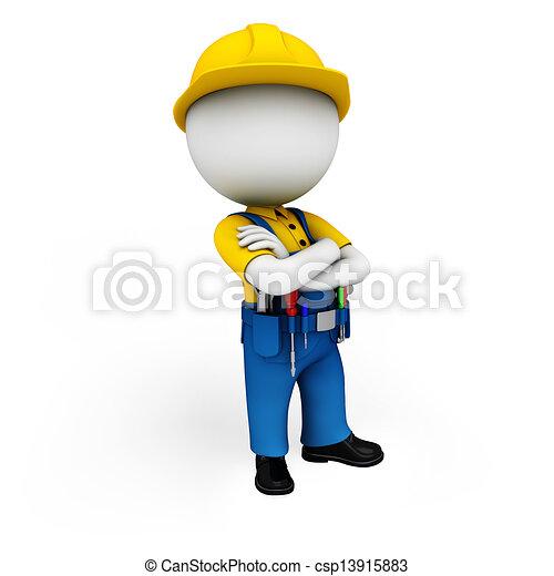 3d white people as plumber - csp13915883