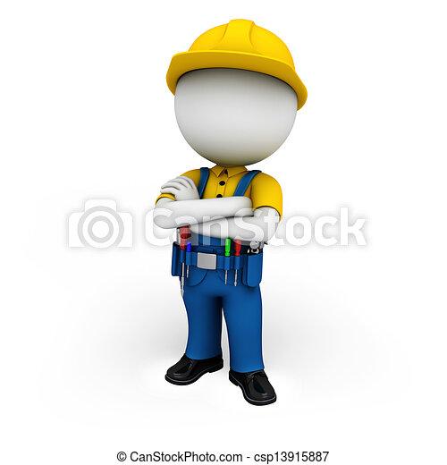 3d white people as plumber  - csp13915887