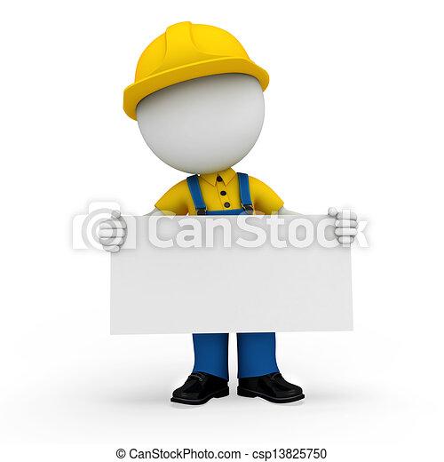3d white people as plumber - csp13825750