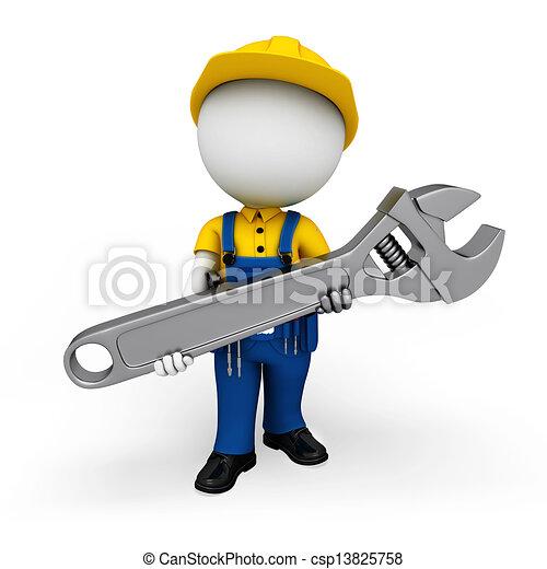 3d white people as plumber - csp13825758