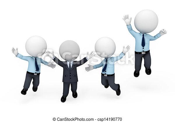 3d white people as service man - csp14190770