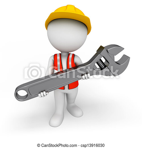 3d white people as worker with tool - csp13916030