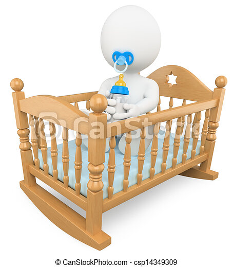 3D white people. Baby in the crib - csp14349309