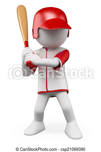 3D white people. Baseball Player - csp21069390