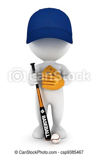 3d white people baseball player - csp9385467