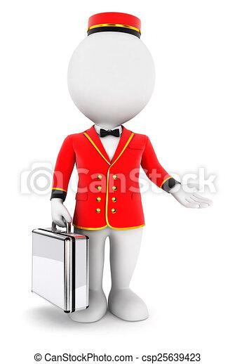 3d white people bellboy - csp25639423