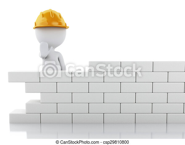 3d White People Building A Brick Wall Stock Illustration