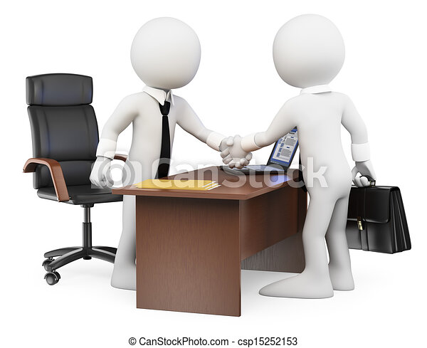 3D white people. Business deal - csp15252153