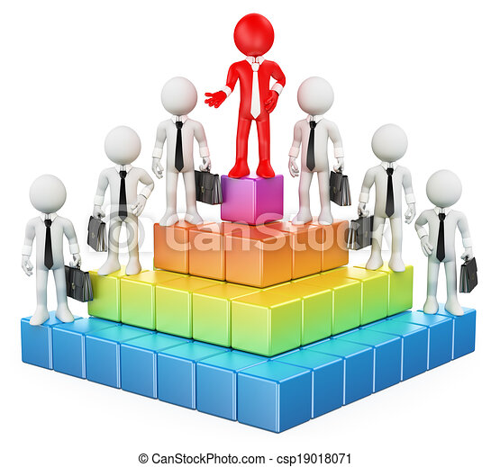 3D white people. Business hierarchy - csp19018071