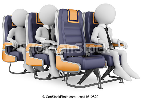 3D white people. Business people on a air travel - csp11612879