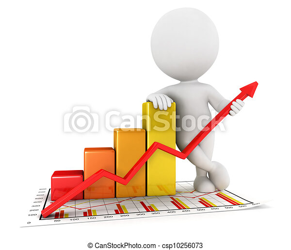 3d white people business statistic - csp10256073