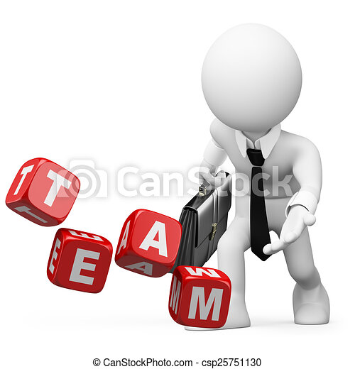 3D white people. Businessman throwing dice with the word team - csp25751130