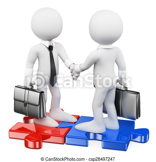 3D white people. Businessmen on puzzle pieces closing a deal - csp28497247