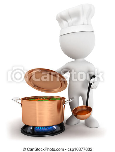 3d white people cooking - csp10377882