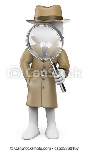 3D white people. Detective. Private Investigator - csp23368167