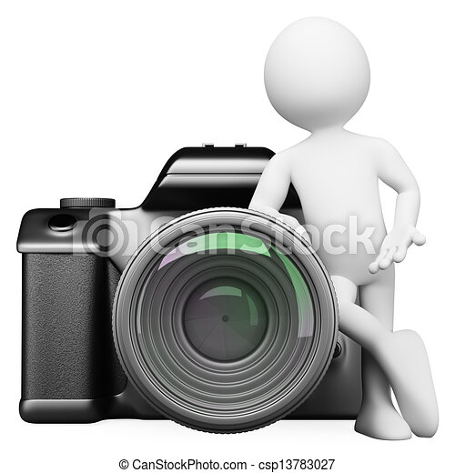 3D white people. Digital camera DSLR - csp13783027