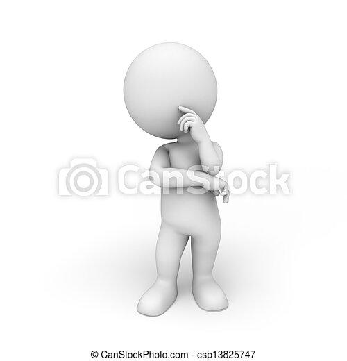 3d white people  - csp13825747