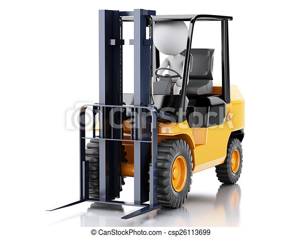 3d white people driving a forklift truck. - csp26113699