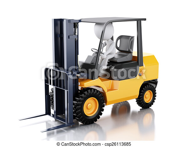 3d white people driving a forklift truck. - csp26113685
