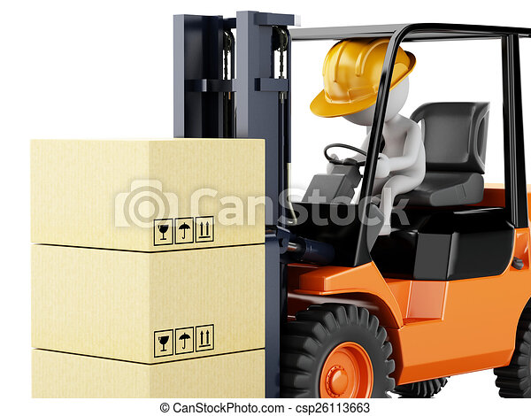 3d white people driving a forklift with boxes  - csp26113663