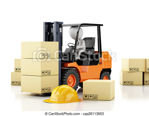 3d white people driving a forklift with boxes  - csp26113653