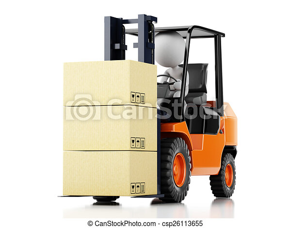 3d white people driving a forklift with boxes  - csp26113655